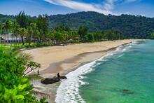 A Quiet Beautiful Kata Noi Beach On Phuket Island With The Turquoise Blue Andaman Sea.