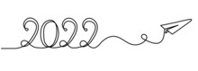 """Calligraphic Inscription Of Year """"2022"""" As Continuous Line Drawing On White Background. Vector"""