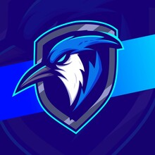 Blue Jay Bird Head Mascot Esport Logo Designs For Game And Sport Logo With Shield