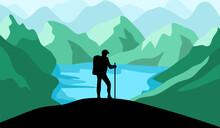 Silhouette Hiking Man Adventure Mountain Lake In Flat Design.