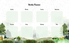 Weekly Planner With Watercolor Landscape Background