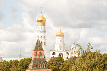 Moscow, Russia.   View To The Kremlin Tower And Ivan The Great Bell Tower.  Summer