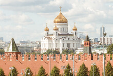 Moscow, Russia.   View To The Kremlin Wall And And Christ The Saviour Cathedral.  Summer. Telephoto Shot