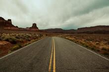 Long Road In Utah Leading To Hite Marina Campground, Glen Canyon