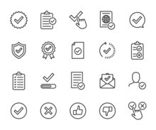 Vector Set Of Approved Line Icons. Contains Icons Accepted Document, Approved And Rejected, Checklist, Warranty, Stamp, Quality Control And More. Pixel Perfect.