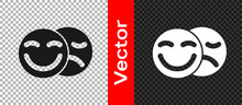 Black Comedy And Tragedy Theatrical Masks Icon Isolated On Transparent Background. Vector