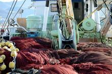 甲板の魚網