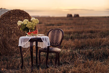 Autumn Still Life On A Field With Haystacks. Sunset. A Table With A Chair, A Watermelon And Flowers On The Table.