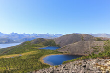Picturesque View From The Mountain To Anemone And Mechta (Dream) Lakes That Are Located About 200 Meters Above The Jack London Lake, Magadan Region, Russian Far East