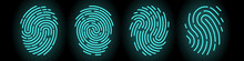 Set Of Vector Fingerprints Of Different Types. Personal Identification. Fingerprints Of Turquoise Colors On A Black Background. Stock Illustration EPS 10