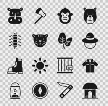 Set African Hut, Shirt, Camping Hat, Monkey, Tiger Head, Centipede Insect, Rhinoceros And Tropical Leaves Icon. Vector