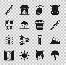 Set Mushroom, Mountains, Machete, Lemon, African Tree, Binoculars, Hunting Gun And Hiking Backpack Icon. Vector