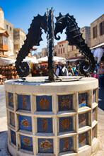 Seahorse Fountain In Rhodes, Greece
