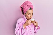 Young Beautiful Woman Drinking Coffee Wearing Towel