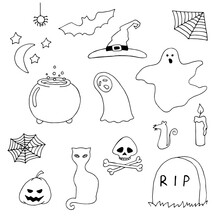 Set For The Holiday Halloween. Ghost, Tombstone, Skull And Bones, Spider Web, Pumpkin, Spider, Candle, Witch Hat, Vat Of Magic Potion. Doodle. Silhouette. Black And White Outline. Coloring.