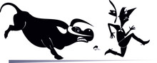 Farmer Or Cowboy And Angry Bull Illustration.  Frightened Farmer Or Cowboy Runs Away From The Angry Bull Black On White