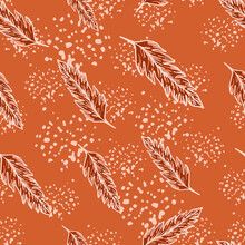 Creative Foliage Seamless Pattern. Modern Floral Wallpaper. Simple Leaves Ornament. Leaf Backdrop.