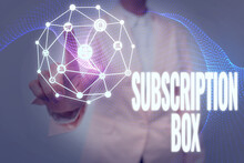 Text Caption Presenting Subscription Box. Business Concept Button If You Clicked On Will Get News Or Videos About Site Lady In Uniform Holding Tablet In Hand Virtually Tapping Futuristic Tech.
