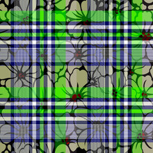 Seamless Green Checks And Flower Pattern