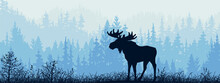 Horizontal Banner. Silhouette Of Moose Standing On Meadow In Forrest. Silhouette Of Animal, Trees, Grass. Magical Misty Landscape, Fog. Blue And Gray Illustration. Bookmark.