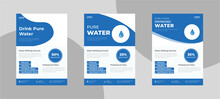 Water Refilling Service Flyer Design. Drink Pure Water Poster Template. Freshwater Service Flyer Template