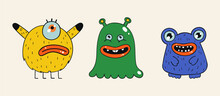 A Set Of Three Cartoon Stickers With Monsters. Various Creepy And Scary Freaks On A Beige Background. Multi-colored Characters For Postcards, Decor, Covers, Social Networks. Hand Drawn Vector.