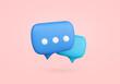 canvas print picture - Chat bubble symbol 3D render. Communication symbol illustration with copy space. Speech ballon for message.