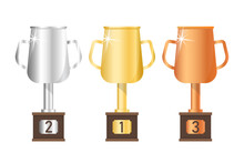 Vector Gold, Silver And Bronze Goblet