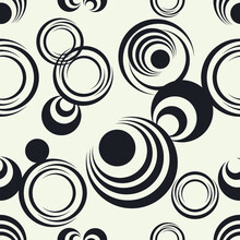 Semicircles Structure Vector Background. Geometric Shapes Seamless Pattern.