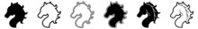 Horse Head Icon Horse Pony Set | Horses Icon Pony Heads Vector Illustration Logo | Horse-Icon Isolated Horsehead-Horse Collection