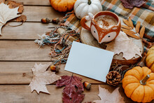 Autumn Greeting Card Mock Up. Blank Card  With Pumpkin, Autumn Leaves, Pine Cone. Thanksgiving And Halloween Postcard Template. Fall Background