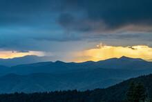 Rain Squall Creates Dramatic Light Over The Blue Ridge Mountains At Sunset