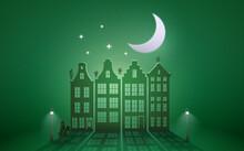 Celebration Dutch Holidays - Saint Nicholas Or Sinterklaas In Front Of City At Night - Greenpaper Graphic