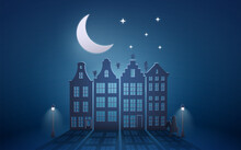 Celebration Dutch Holidays - Saint Nicholas Or Sinterklaas In Front Of City At Night - Blue Paper Graphic