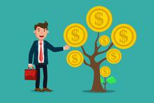 Businessman Standing Near Money Dollar Coin Tree , Money Growth ,Financial Growth Concept.