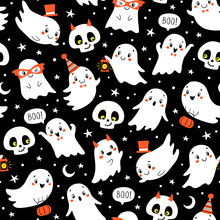 Vector Halloween Seamless Pattern With Cute Ghosts And Skulls On Black Background