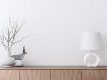 Empty Interior White Paint Wall With Wooden Cabinet 3d Render Decorate With White Ceramic Vase And Marble Lamp
