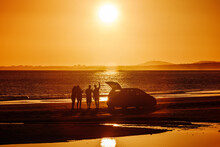 Summer, Friends Having Fun And Sunset On The Beach