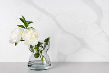 A Couple Of White Peony Flowers Being Placed In A Transparent Glass Vase Against A Marble-veining Kitchen Backsplash Which Was Made Of Quartz Stones