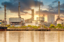 Oil Refinery Petrochemical Industrial Plant In Sunset