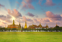 Sunrise Sky Of Grand Architecture, A Venue Now Mostly Used For Ceremonial Events. The Buddhist Temple Of The Wat Pha Kaew Temple At The Grand Palace In Bangkok, Thailand