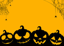 Happy Halloween Banner With Scary Pumpkin Face, Spider Hanging From Spiderwebs Isolated On Yellow  Background, Blank Space For Text,element Template For Poster,brochures, Online Advertising,vector