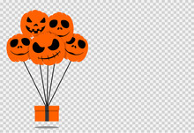 Halloween Party  Background With  Scary Pumpkin Air Balloons And Gifts Box   Isolated  On Png Or Transparent, Blank Space For Text,element Template For Poster,brochures,online  Advertising,vector