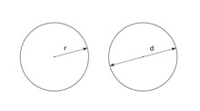 Radius And Diameter Of A Circle, Diagram Of A Basic Geometric Shape, Black And White Illustration Isolated On White Background