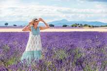 White Haired Woman With Hatin The Lavender Fields