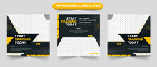 Gym Training And Fitness Square Banner Template Promotional Banner For Social Media Post Web Banner And Flyer