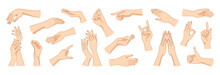 Women Hands Gestures. Female Arms Trendy Poses. Abstract Graphic Elements For Cosmetic And Advertising. Ladies Palms With Healthy Skin And Fingernails. Vector Body Parts Positions Set