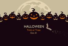 Halloween Design Pumpkins And The Moon