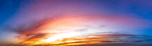 Picture Panoramic Sky And Clouds At Twilight.