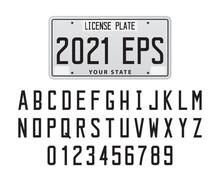 License Plate Font And Number, Vector Illustration